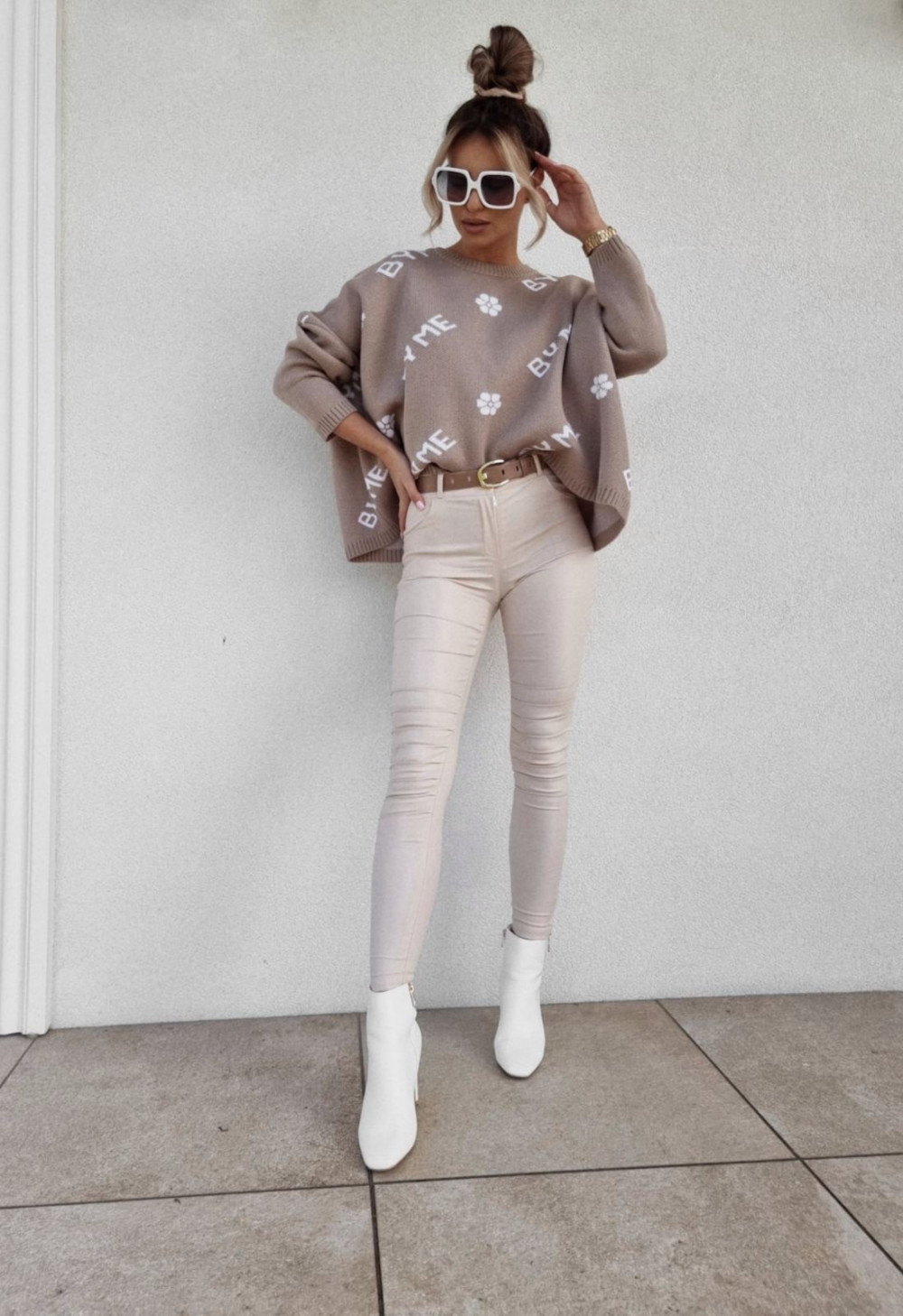 SWETER BM OVERSIZE BEŻOWY