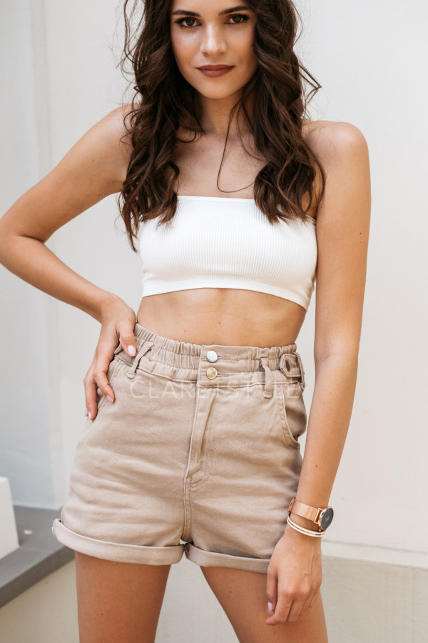 SZORTY HIGH WAIST BEIGE 2