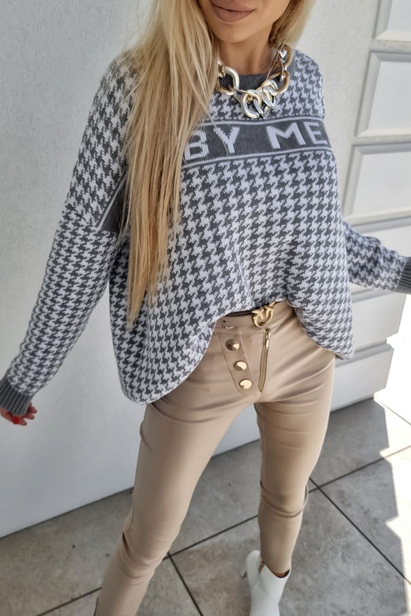 SWETER BY ME SZARY PEPITKA 2