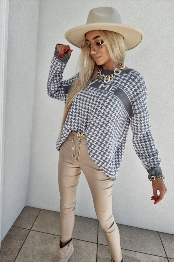SWETER BY ME SZARY PEPITKA 4