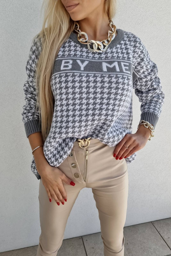 SWETER BY ME SZARY PEPITKA 5